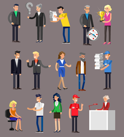 shake hands: Vector detailed characters people, business people men and women in action. Business people shake hands, with a briefcase, secretary, big boss, startup man, colleagues, business people lifestyle