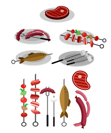 grilled: Different kind of meat on the grill illustration. picnic or Bbq party. Food and barbeque, summer and grill. Vector barbeque party, illustration barbeque party Illustration