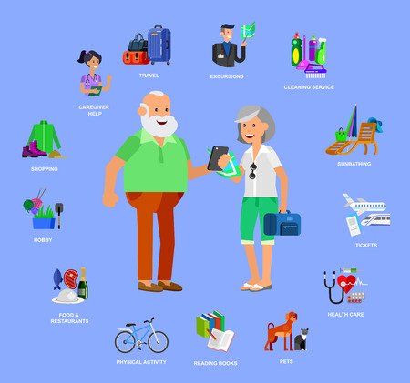 excursions: vector detailed character senior, senior age. Old age couple and icons. Pension hobbies and interests leisure of pensioner Illustration