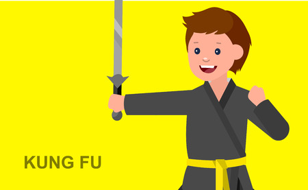 martial art: Cute vector character child. Illustration for martial art kung fu poster. Kid wearing kimono and training kung fu. Vector fun child. Illustration of Kid and Sport. Child take kung fu fighting pose