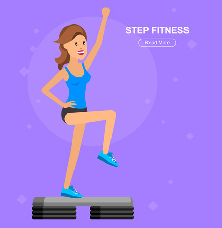 step fitness: Vector detailed character Fit woman and step fitness workout. Happy and sporty woman. illustration. Woman goes in for sports, step training for Woman