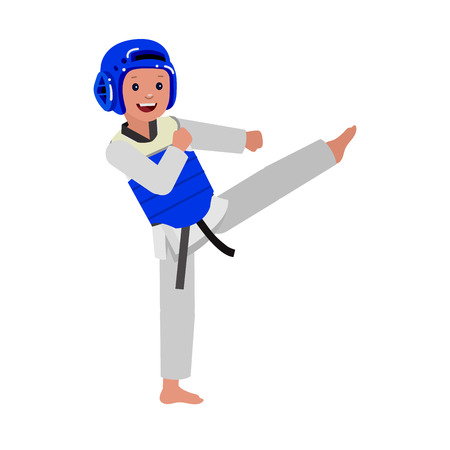 kid illustration: Cute vector character child and taekwondo. Illustration for martial art poster. Kid wearing kimono and taekwondo training. Vector fun child. Illustration of Kid and Sport. Child take fighting pose