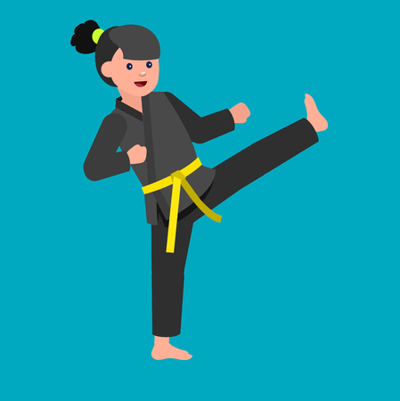 girl fist: Cute vector character child. Illustration for martial art kung fu poster. Kid wearing kimono and training kung fu. Vector fun child. Illustration of Kid and Sport. Child take kung fu fighting pose