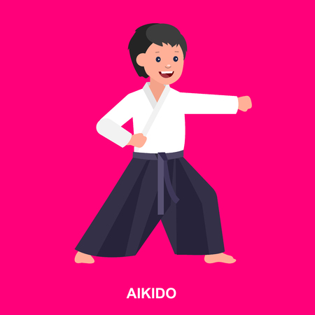 martial art: Cute vector character child. Illustration for martial art aikido poster. Kid wearing kimono and training aikido. Vector fun child. Illustration of Kid and Sport. Child take aikidofighting pose