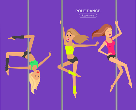 strip club: Vector detailed character Fit woman dancing around the pole. Pole dance training. Happy and sporty woman. illustration. Pole dance training for sexy woman