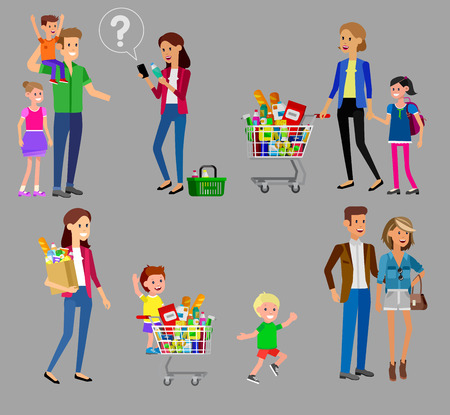 satisfied customer: Concept banner for Shop, supermarket. Vector character people in supermarket, cart, delivery, family shopping. Healthy eating and eco food in supermarket. Vector flat illustration for supermarket.