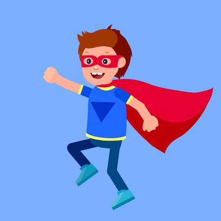 Bambino sveglio carattere vettoriale. bambino supereroe. illustrazione bambino felice. bambino carattere dettagliata. Super Kids eroe che giocano, volano, Super bambini in azione. Vector divertimento bambino. Archivio Fotografico - 57407357