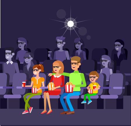 Family Cinema filmposter of banner sjabloon, popcorn, 3D-bril, concept banner. Cinema hal. Rust met familie in de bioscoop. Cute vector teken mensen