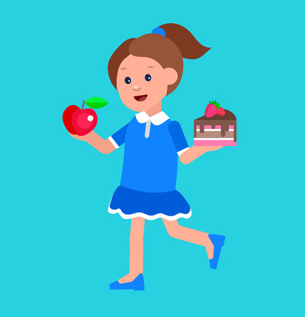 children eating: Cute vector character child and healthy food. Child with vegetables, kid girl chooses between apple and cake. Happy kid illustration. Detailed character child. Vector fun child.