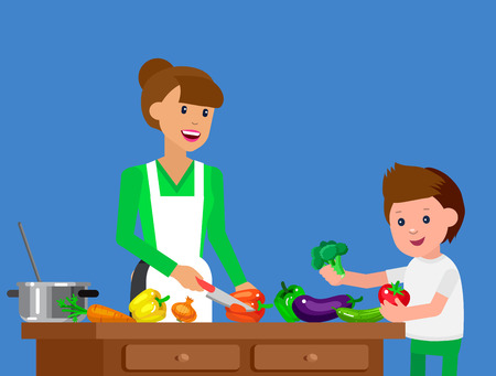 prepare: Cute vector character child and healthy food. Child with vegetables, cook food with mother. Happy kid helping mum prepare food. Detailed character child. Vector fun child.