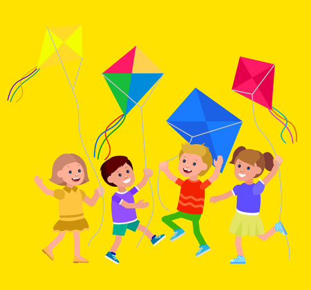 Cute vector character child. Cheerful child. Kid playing with kite. Vector illustration of child flying kite. Detailed character child. Vector for Celebration children day Vectores