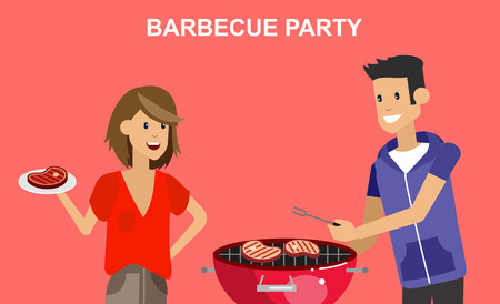 friends eating: Vector character people on Family picnic or Bbq party. Chef men cooking steaks on grill. Food and barbeque, summer and grill. Vector barbeque party, illustration barbeque party on landscape
