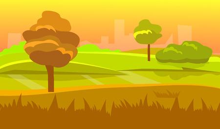 unending: cartoon desert landscape, vector unending background landscape with desert, herbs, mountains and sky. Vector landscape. Flat landscape