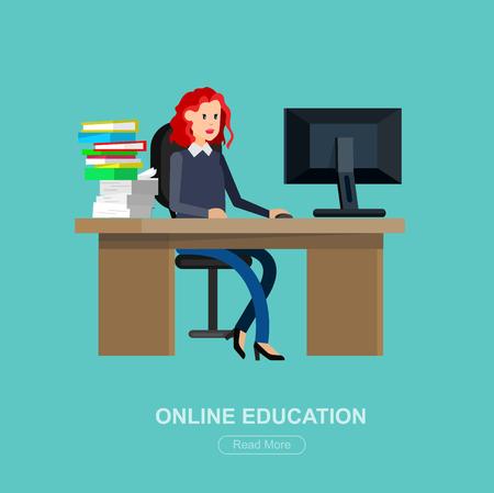 exam preparation: Vector character student woman. University courses, online education, exam preparation. University education banner, vector student Illustration