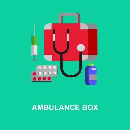 medicine chest: Camping object. Camping medicine chest icons. Ambulance box camping object. Vector medicine chest