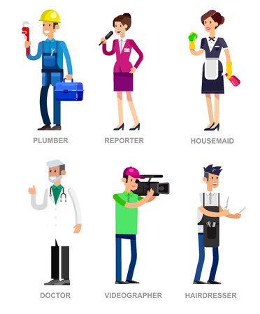 porter house: Profession people. Detailed character professionals . Illustration of character Profession people. Vector flat Profession people