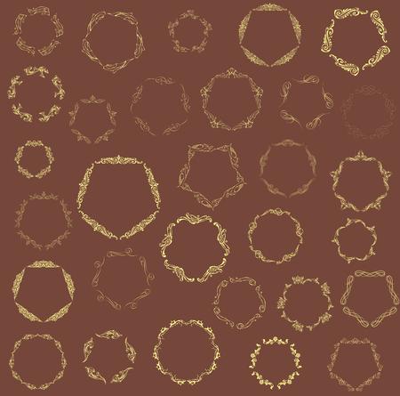 black gram: Set of elegant monogram design. Vector  linear frame and monogram illustration. Trendy linear monogram and linear frame. Monogram set