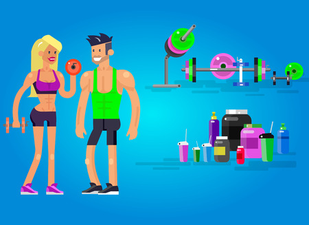 fitness equipment: Gym design concept with Vector detailed character men and women bodybuilder. Workout with fitness equipment and sports nutrition, cool flat  illustration. Web banner template