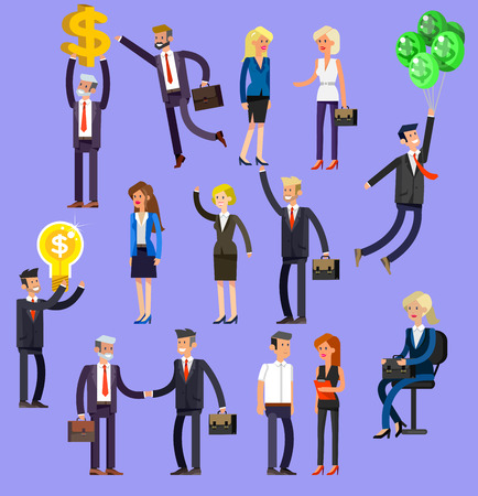 adult student: Vector detailed characters people, business people men and women in action. Business people shake hands, with a briefcase, secretary, big boss, startup man, colleagues, business people lifestyle