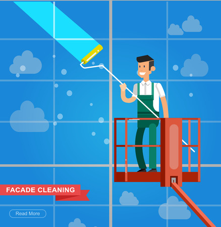 textspace: Illustration of a window washer cleaner cleaning a window. Vector detailed character men worker on lift