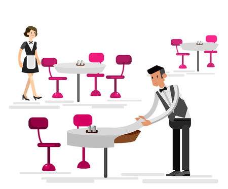 socialize: Vector detailed character people in the restaurant, service for public and personnel, waiter served tables. Vector restaurant illustration