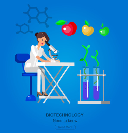 technician: detailed character woman scientis, laboratory technician looking through a microscope, Biotechnology icons concept Illustration