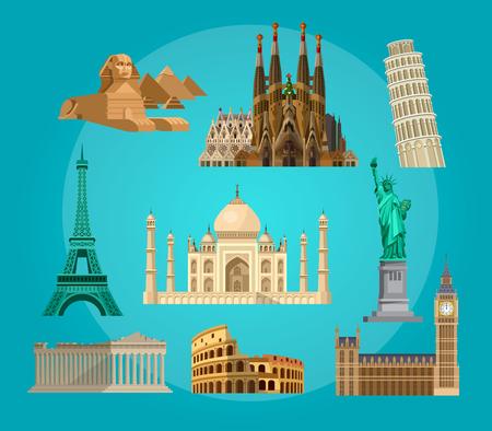 High quality, detailed most famous World landmarks. Travel vector. Travel illustration. Travel landmarks. Happy travel Illustration