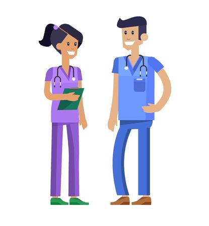 radiological: Vector detailed nurse character man, woman and nurse. Medical nurse team isolated on white background, nurse team. Vector illustration nurse. Funny character nurse.