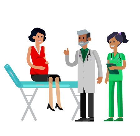gynecologist: detailed character pregnant woman having a doctor visit in hospital. Gynecologist men and smiling nurse  indicates that everything is OK. Cool flat  illustration isolated on white background. Illustration