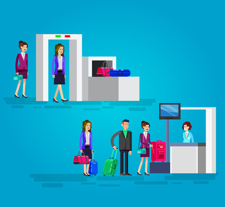 Vector detailed characters people in airport lounge. Woman is registered, checks the metal scanner, people baggage claim, flat  illustration Иллюстрация