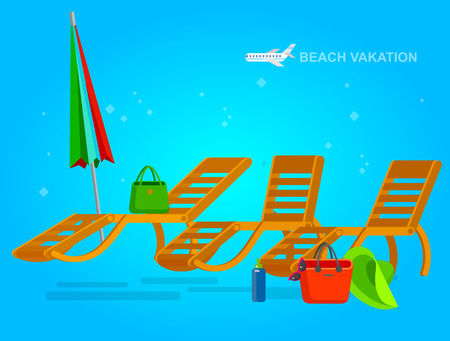 chaise longue: beach chaise longue, recliner in different design, vector beach chaise longue set, beach chaise longue illustration on background. Vector beach chaise longue