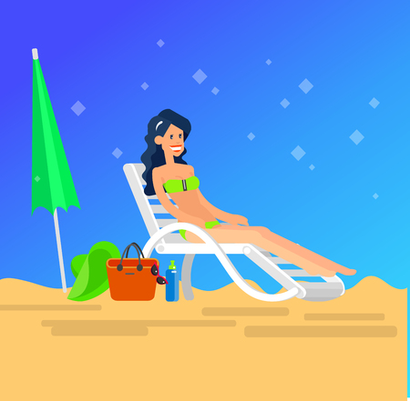 sunbathe: Vector detailed character Hot beautiful girl in bikini lying on a sun lounger and sunbathe on a summer beach, girlfriends go on summer vacation. Cool flat summer illustration. Vector summer