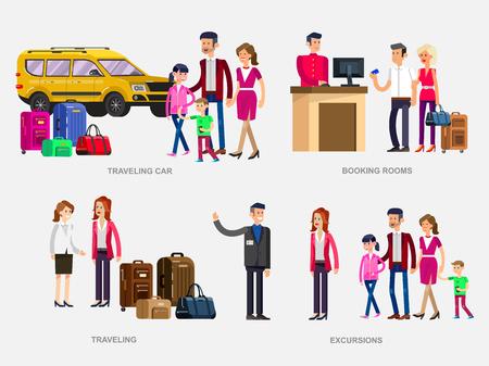 guia de turismo: Carácter vectorial detallada personas. Familia de viaje de vacaciones de verano en el coche, reserva de habitaciones en el hotel, guía, amigo femenino con el bolso y la maleta va viajando, Vectores