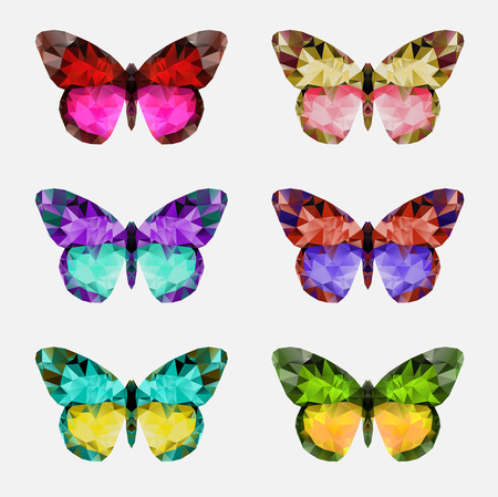 multicolor mariposa. Resumen concepto de diseño poligonal para el salón de belleza, spa, cosméticos, cirugía plástica. Modelo de la insignia del vector.