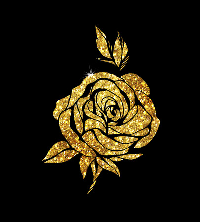 Glowing golden rose on background. Gold sparkles rose. Gold banner. Illustration