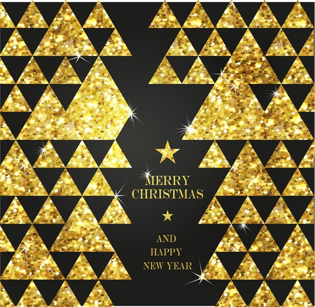 gold tree: Christmas gold Greeting Card. Merry Christmas gold tree. Background with golden Christmas trees