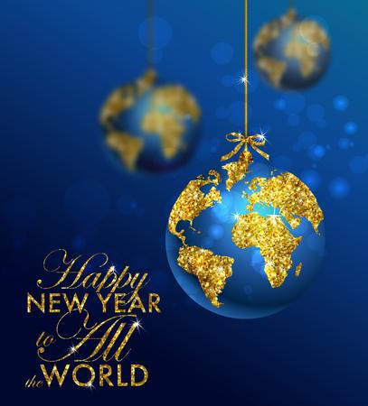 bola del brillo de la Navidad con el mapa mundial. Tarjeta de felicitación con la tipografía y el oro del globo del mundo. Feliz Navidad concepto. Fondo con los elementos caligráficos de oro