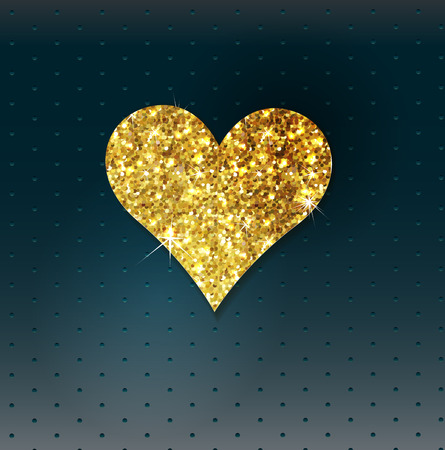 glitter heart: Abstract background with gold glitter heart. Design template for invitation, congratulation