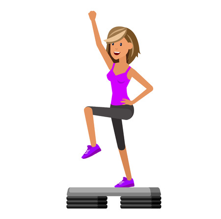 Vector detailed character Fit woman and step fitness workout. Happy and sporty woman. illustration. Woman goes in for sports, step training for Woman
