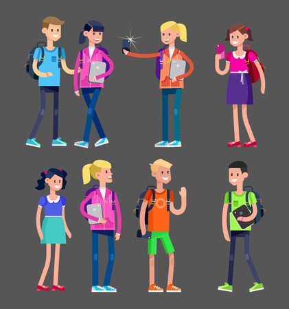 elementary: Vector detailed character flat design children students boy and girl. Kids  smiling holding Gadgets and backpacks. Primary or elementary school Illustration