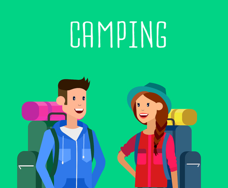 woman hiking: camping characters. Morning landscape in the mountains. Men and woman character camping tourists. Camping Weekend in the tent. Hiking and camping. Vector camping flat illustration