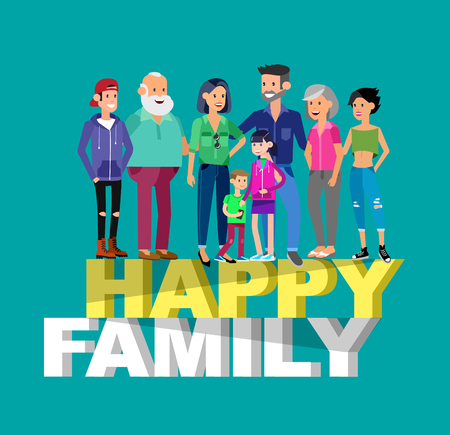 mom and son: Set of big happy family character, Mom and Dad, grandparents, parents and children, brother and sister, son and daughter. Portrait of a big happy family. Vector family character Illustration
