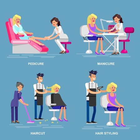 woman washing hair: Detailed Manicurist character makes a professional manicure and pedicure beautiful blond woman. Barber makes a hair cut and styling for girl. Web banner template  for beauty saloon Illustration