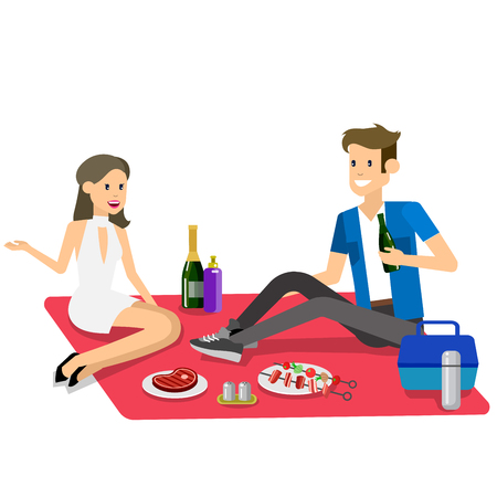family outside: Vector character people couple love on Family picnic or Bbq party. Food and barbeque, summer and grill. Vector barbeque party, illustration barbeque party