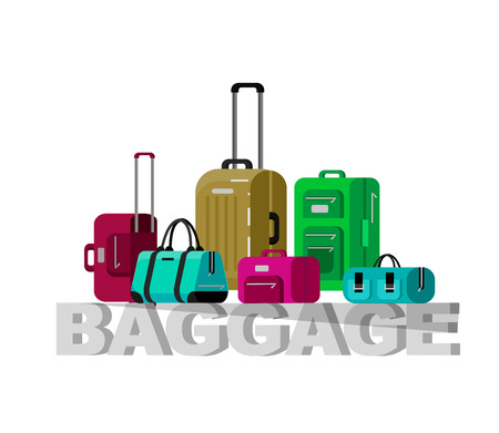 travel bag: Travel bags in various colors. Luggage suitcase and Travel  bag isolated on white background. Vector travel bags. Illustration bag Illustration