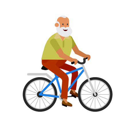 third age: vector detailed character senior, senior age travelers. Old age retired tourist. Elderly senior having summer vacation. Old tourists riding on a bicycle. Active senior