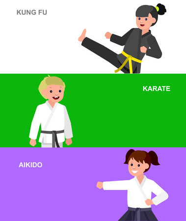kung fu: Cute vector character child. Illustration for martial art karate, aikido, kung fu. Kid wearing kimono and training. Child take fighting pose