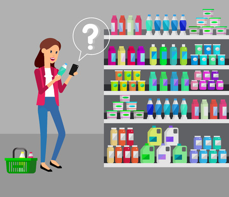 sale shop: Concept illustration for Shop, supermarket. Vector character woman chooses products in supermarket. Healthy eating and eco food in supermarket. Vector flat illustration for supermarket. Illustration