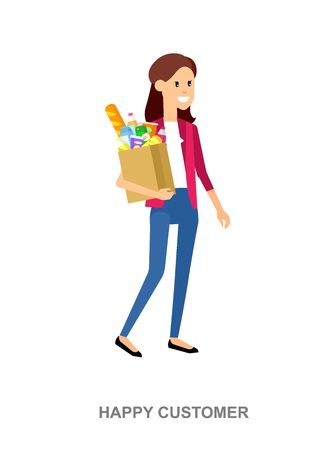 chooses: Concept illustration for Shop, supermarket. Vector character woman chooses products. Healthy eating and eco food in supermarket. Vector flat illustration for supermarket.