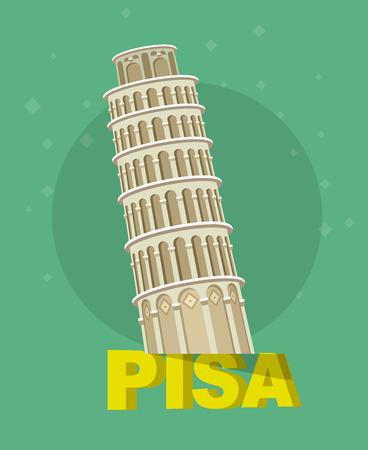 leaning tower of pisa: High quality, detailed most famous World landmark. Leaning Tower of Pisa, Italy, Europe. Travel vector. Travel illustration. Travel landmarks. Happy travel